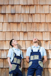 Two craftsmen at wooden wall looking up - FKCF000010