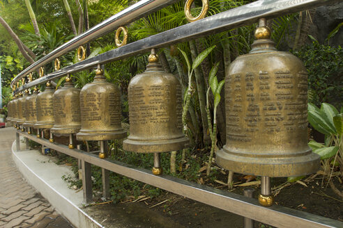 Thailand, Samut Sakhon, row of Buddhistic bells - ZC000115