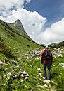 Austria, Tyrol, Allgaeu High Alps, Nature Reserve Hoher Ifen, Mahd Valley, Torkopf Mountain, Ascent to Gottesacker, Hiker - STSF000427