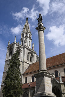 Germany, Baden-Wuerttemberg, Constance district, Constance, Konstanz Minster with St. Mary's Column - EL001099