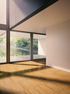 Interior of modern living room with view on brook, 3D rendering - UWF000125