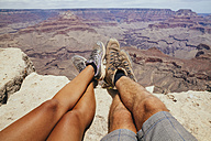 USA, Arizona, couple enjoying the view at Grand Canyon, partial view - MBEF001085