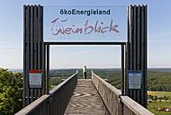 Austria, Burgenland, Oberwart District, Eisenberg an der Pinka, Woman standing on viewing platform Weinblick - SIE005590