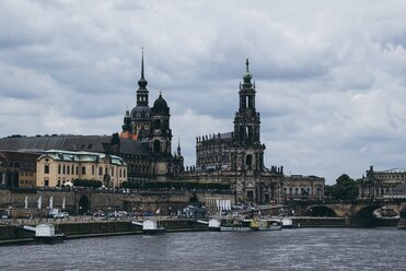Germany, Saxony, Dresden, view to old town with Elbe River in the foreground - ELF001136