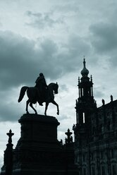 Germany, Saxony, Dresden, view to court church and Equestrian statue of King John - ELF001145