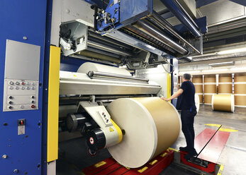 Presses with rolls of paper in a printing shop - SCH000364