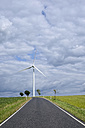 Germany, Saxony, Empty road and wind turbine - ELF001162