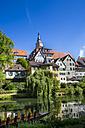 Germany, Baden-Wuerttemberg, Tuebingen, Hoelderlin tower and Collegiate church at Neckar river - LVF001566