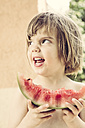 Germany, Young girl with water melon - LVF001582
