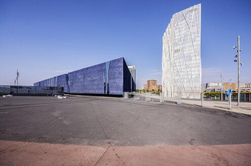 Spain, Barcelona, Telefonica building and Museu Blau - THA000518