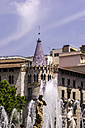 Spain, Barcelona, Eixample, view from Placa Catalunya to fountain - THAF000537