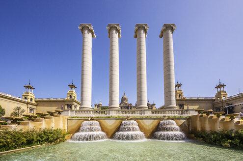 Spain, Barcelona, water feature at Palau Nacional - THAF000557