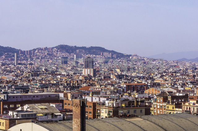 Spain, Barcelona, cityscape from Palau Nacional - THAF000567