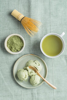 Green tea icecream, matcha tea and Chasen tea whisk - ECF000680