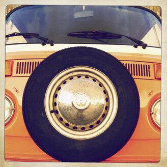 VW bus, German trademark, old, front, headlights, classic car, Hamburg Germany - MS004077