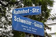Switzerland, Zurich, road signs of Bahnhofstrasse and Schweizer Gasse - EJWF000424