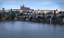 Czechia, Prague, Charles Bridge and Prague Castle in the evening - MKFF000008