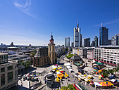 Germany, Hesse, Frankfurt, View to financial district with Commerzbank tower, European Central Bank, Helaba, Taunusturm, Hauptwache and St. Catherine's church - AMF002544