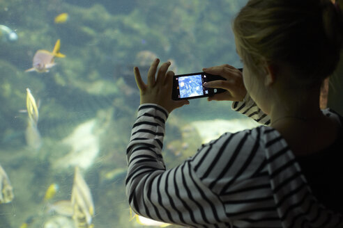 France, Bretagne, Finistere, Brest, Oceanopolis, Young girl taking a photo with an iPhone - DHL000466