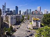 Germany, Hesse, Frankfurt, View to financial district with Commerzbank tower, , Taunusturm, Japan Tower, Helaba, Westend Tower, Deutsche Bank and Opera Tower - AMF002555