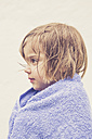 Profile of little girl with wet hair wrapped in a towel - LVF001638