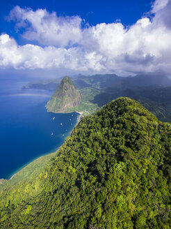 Caribbean, Antilles, Lesser Antilles, Saint Lucia, Pitons Bay, Aerial view to Volcanos Gros Piton and Petit Piton - AMF002566