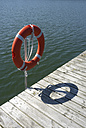 Germany, Brandenburg, part of a jetty and a lifesaver at sunlight - TKF000364