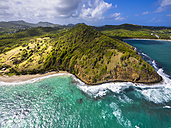 Caribbean, St. Lucia, aerial view of Epouge Bay and Plantation Bay - AMF002570