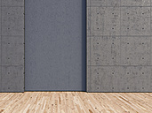 3d Rendering, concrete wall and larch wood floor - UWF000129
