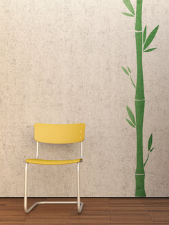 3D Rendering, yellow chair at concrete wall and merbau floor - UWF000143