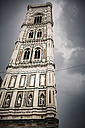 Italy, Tuscany, Siena, bell tower of cathedral Santa Maria del Fiore, view from below - SBDF001021