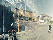 France, Strasbourg, reflection in glass building at central station - MEM000328