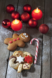 Gingerbread man, sugar cane, plate of Christmas cookies, Christmas baubles and lighted candles on grey wood - CSF021983
