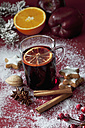 Glass of mulled wine with slice of orange - CSF022004