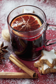 Glass of mulled wine with slice of orange - CSF022007