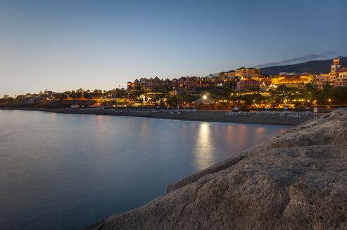 Spain, Canary Islands, Tenerife, Costa Adeje, Playa Del Duque in the evening - RJF000243