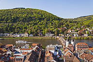 Germany, Baden-Wuerttemberg, Heidelberg, Old town, Old bridge with Bridge gate, Excursion boat on Neckar river - WDF002522