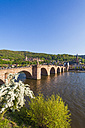 Germany, Baden-Wuerttemberg, Heidelberg, Old town, Old bridge, Church of the Holy Spirit and Heidelberg Castle - WDF002524