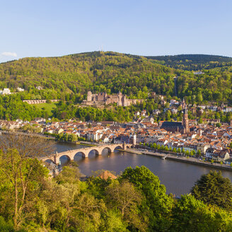 Germany, Baden-Wuerttemberg, Heidelberg, View to Old town, Old bridge, Church of the Holy Spirit and Heidelberg Castle - WDF002526