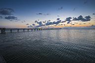 USA, Texas, Rockport-Fulton, Fishing pier before sunrise - ABAF001440