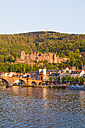 Germany, Baden-Wuerttemberg, Heidelberg, View to Old town, Old bridge, Church of the Holy Spirit and Heidelberg Castle - WDF002558