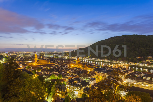 Germany, Baden-Wuerttemberg, Heidelberg, View to Old town, City view in the evening - WDF002561