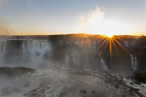 South America, Brazil, Parana, Iguazu National Park, Iguazu Falls against the evening sun - FOF006655