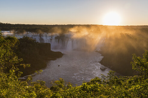 South America, Brazil, Parana, Iguazu National Park, Iguazu Falls against the evening sun - FOF006706