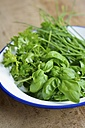 Enamel bowl of fresh herbs on wood - HAWF000416