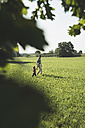 Father walking with his little daughter on a meadow - UUF001524