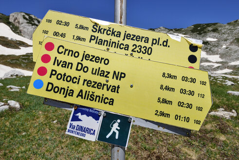 Montenegro,Crna Gora, Trail sign in Durmitor National Park - ES001312