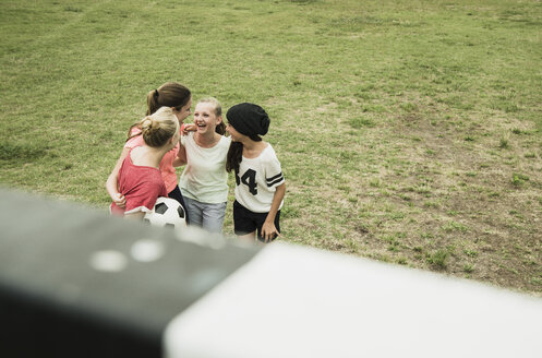 Four female teenage friends having fun on a soccer field, elevated view - UUF001562