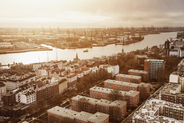 Germany, Hamburg, St. Pauli with Port of Hamburg, Elbe river at sunset - ZMF000321