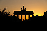 Germany, Berlin, Brandenburg Gate at sunset - MKFF000067